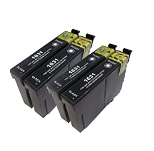 4 x T 1631 XL - Multipack Epson Compatible Ink Cartridges for Epson WorkForce WF-2010W - ALSO COMPATIBLE WITH Epson WorkForce WF-2010W, WF-2510WF, WF-2520NF, WF-2530WF, WF-2540WF Printers - Latest Version Double Capacity Inks - T1631 (Contains 4x : T 1631) - Black - Multipack ***By TriINKS***