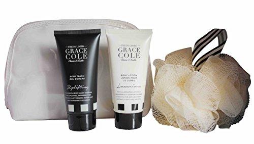 Grace Cole fresco lino 4-pc Body Beautiful bagnano insieme : Wash Lotion lucidatore Bag
