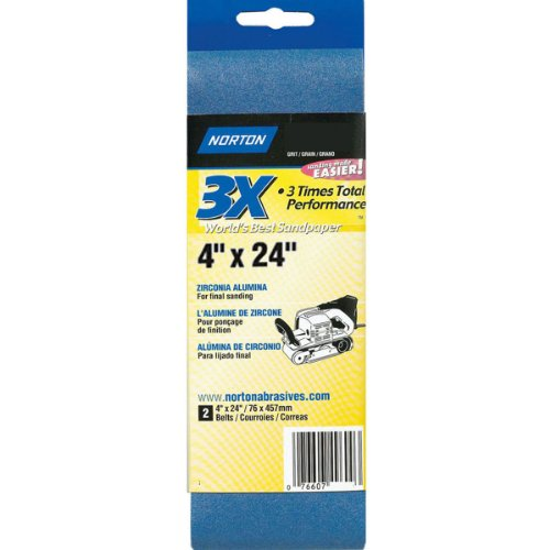 Norton 05473 4-Inch X 24-Inch 3X P50 Portable Belt, 2-Pack