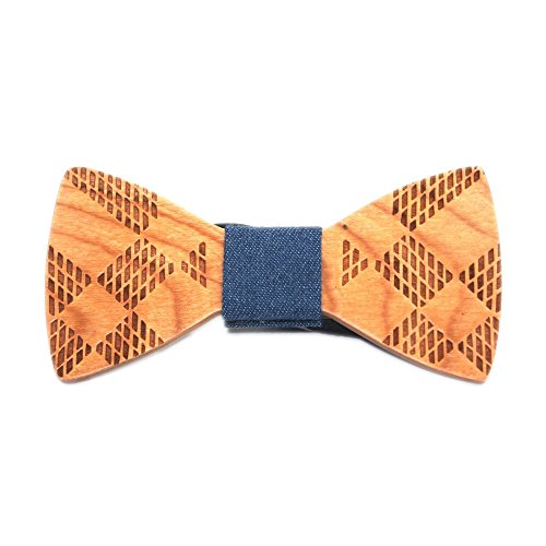 Hello Tie Men's Handmade Cherry Wood Bow Tie Creative Wooden Bowtie with Gift and Box (Creative Bow Ties compare prices)