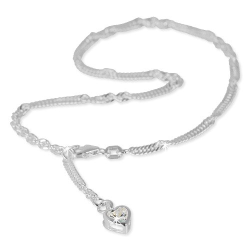SilberDream anklet Zirkonia heart 925 Sterling Silver 9.8 inch SDF005