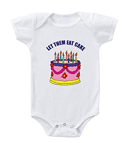 Let Them Eat Cake Birthday Cake Baby Infant Toddler Baby Bodysuit Creeper White 18 Months front-866476