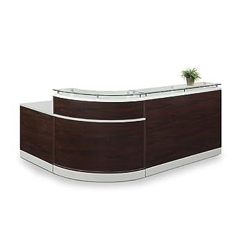 "Esquire Glass Top Reception Desk 79""W x 63""D Mahogany Laminate/Silver Laminate Desktop Kickplate and Accents/Glass Top"
