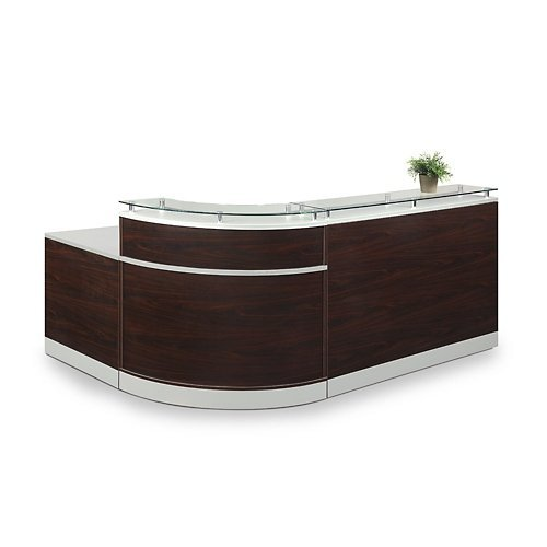"Esquire Glass Top Reception Desk 79""W x 63""D Mahogany Laminate/Silver Laminate Desktop Kickplate and Accents/Glass Top"