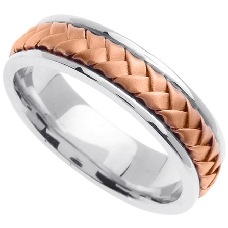 Handmade Woven 14k White & Rose Gold Band (6MM)