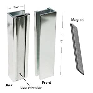 Bright Chrome Shower Door U Channel With Metal Strike And