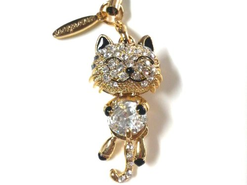 [tt-jewel] good luck - 0 - smiley cat 'smile be happy cat a nice strap ' [swinging long tail ☆ glitter line stone - 0 - Crystal]