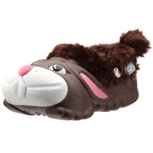 Polliwalks, Pantofole per bambini con coniglio, colore: Marrone