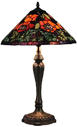 Amora Lighting Poppies Handcrafted Stained Glass Tiffany Style Table Lamp