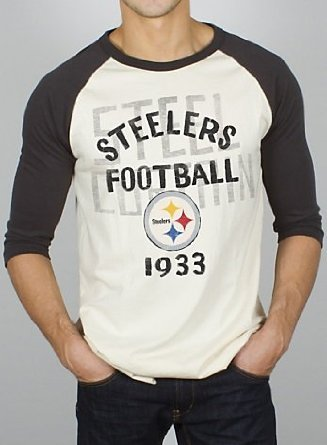 Junk Food NFL Pittsburgh Steelers Rookie Raglan with Flocking Eggshell White &... by Junk Food