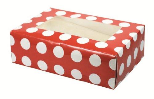 Rojo de lunares Cupcake/Caja para 6 Cupcakes