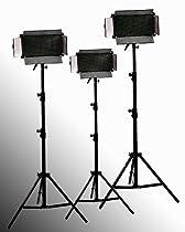 ePhoto 3 x 500 LED Video Panel Perfect Daylight White Balance Photography Video Light Panel with 3 light Stands lighting Set by ePhotoINC ULS500x3