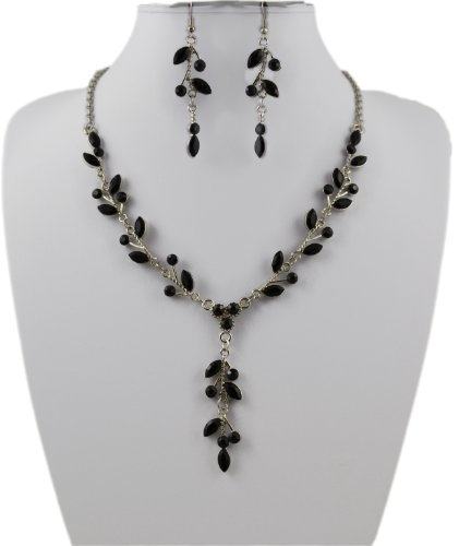Jay Jewellery - Black Acrylic Crystal Leaf Necklace and Earrings Set