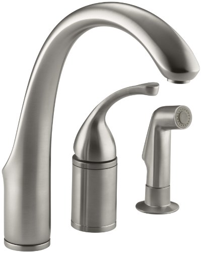 KOHLER K-10430-VS Forte Single Control Remote Valve Kitchen Sink Faucet with Sidespray and Lever Handle, Vibrant Stainless (Kohler Kitchen Faucet And Spray compare prices)