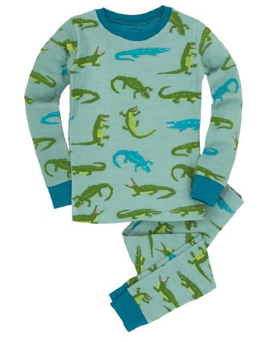Hatley Little Boys' 27 Pajama Set Later Gator, Aqua, 5 front-724281