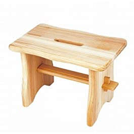 Taburete Reposapiés de madera, medidas: 40 x 22 x 20 cm, Hecho de madera maciza Con mango