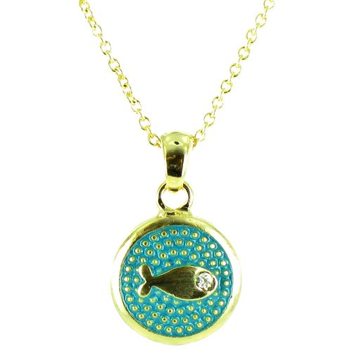 Blue And Clear Crystal On Gold Plated Small Round Fish Symbol Necklace front-890313