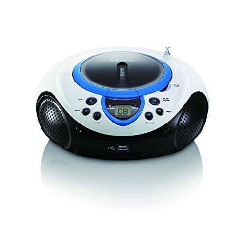 Lenco SCD-38 USB Stereo Boombox, Radio FM, CD/MP3-Player, USB 2.0, Blu