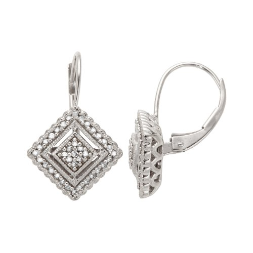 10K White Gold Diamond Vintage Earrings (1/5 cttw, I-J Color, I3 Clarity)