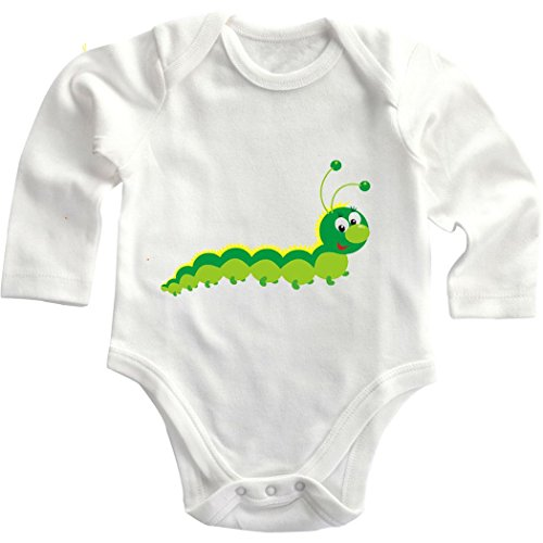 Colorful Baby Hungry Caterpillar Baby Infant Long Sleeve Baby Bodysuit Creeper White 18 Months front-752029