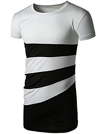 Doublju 2 tone diagonal line Short Sleeve T-shirts with Contrast Color WHITEBLACK XXXL