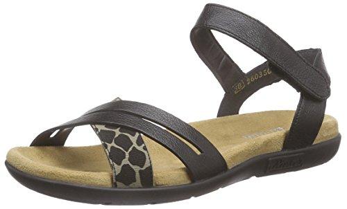 Rieker60953 Women Open Toe - Sandali a Punta Aperta Donna , Nero (Schwarz (beige-schwarz/schwarz / 90)), 41