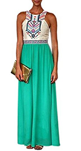 DEARCASE Womens Summer Tribal Printed Maxi Dress Green Medium (Colorful Maxi Dress compare prices)