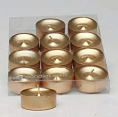 Metallic Shimmer Gold Tealight Candles, Set of 12 Tea Lights