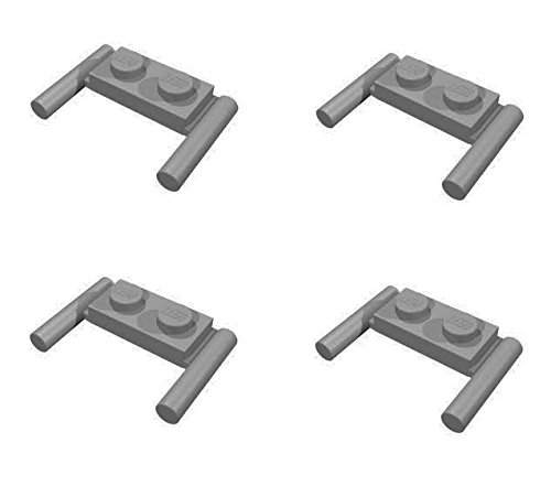 Lego Parts: Modified Plate 1 x 2 with Handles (PACK of 4 - DBGray) - 1
