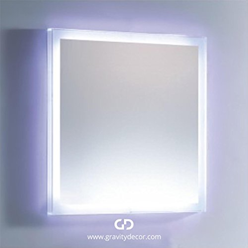 Gravity Decor L-LED04 Modern Bathroom LED Lighted Wall Mounted Vanity Mirror, 27? Lx28? W ...