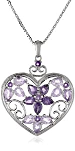 Sterling Silver, Amethyst, Rose de France, and Diamond Heart Pendant Necklace, 18""