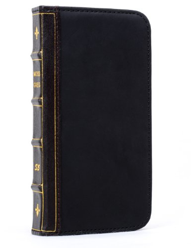 Mossgreg Classic Book Samsung Galaxy S5 Case - Vintage Book Cover Case, Genuine Leather Wallet Case Design With Card Slots And Premium Interior Design For Samsung Galaxy S5 Vintage Bible Case (Presented One Screen Film Protection Film) (S5 Retro Black)