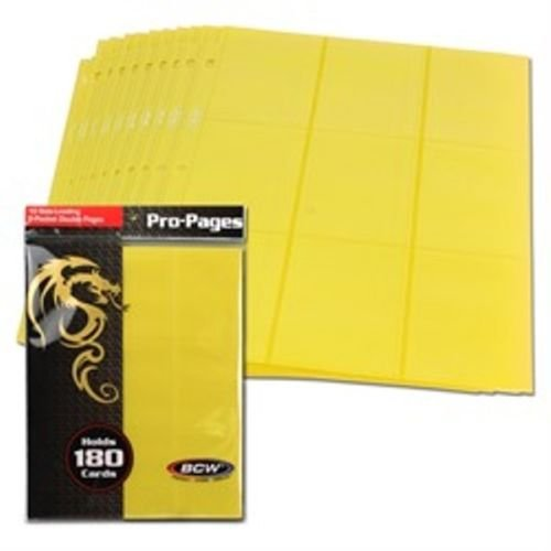 10-bcw-18-pocket-side-loading-pages-mtg-gaming-card-holder-yellow