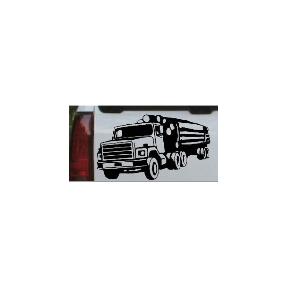 Black 14in X 8.1in    Logging Truck Business Car Window Wall Laptop Decal Sticker