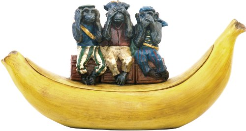 Sterling 93-3254 Composite Three Wise Monkeys Dish Decorative Statue