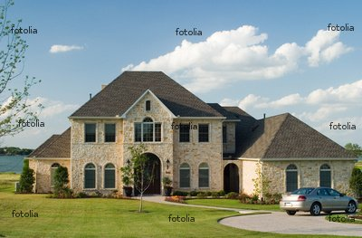 "Wallmonkeys Peel and Stick Wall Graphic - Stone House on Lake - 24""W x 16""H"