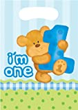 Creative Converting Bears First Birthday Loot Bags, Blue, 8 Count