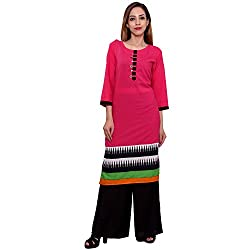 MSONS Women's Pink 6 Buttons Printed Long Kurti in Cotton Fabric