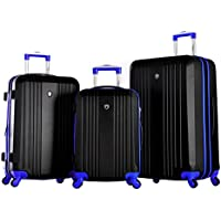 Olympia USA Apache 3-Piece Expandable Hard-Case Luggage Set with Spinner Wheels (Multi Colors)