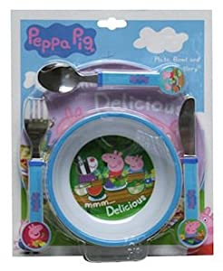 Peppa Pig Plate, Bowl and Cutlery Dinner Set