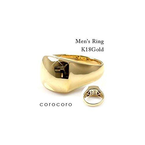 印台メンズK18ゴールドリング裏張り福文字入りボリュームメンズ指輪