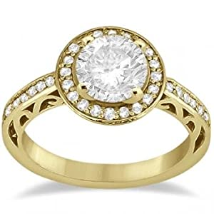 Pave Diamond Halo Carved Engagement Ring 14K Yellow Gold (0.31ct) by Allurez