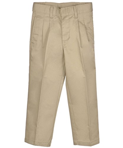 French Toast Pleated Adjustable Waist Double-Knee Pants - khaki, 5