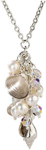 Jane Davis SF0005 Silver Freshwater Pearl, Swarovski Crystal and Sterling Silver Shell Multidrop Ladies' 43cm Necklace