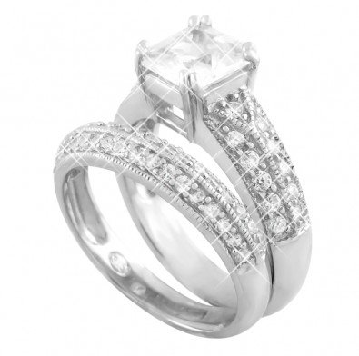 Everything She Will Ever Want You Will Find In This Engagement Set,Engagement ring Features a Double Row of Round Cut Side Stones and a Princess Cut Center Stones, Wedding Band also Features a Double Row of Carefully Set Round Top Quality Cubic Zirconias, Can be Worn Together or Individually, Includes Gift Box and Pouch. (CHSR4280) (7)