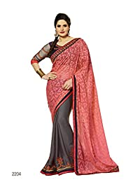 Aarti Latest Fashionable Party Wear Fancy Saree Bridal Embroidery Saree Wedding Wear Free Size - B00XA08CEI
