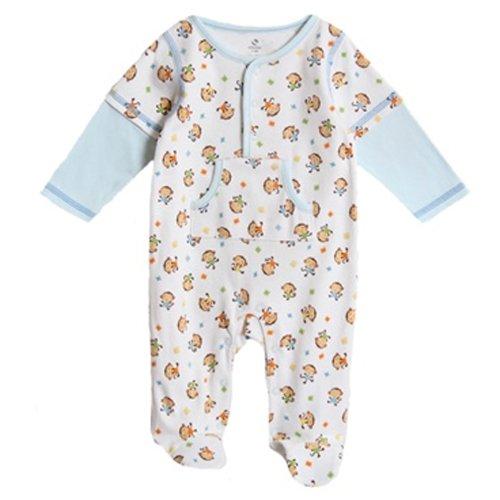 Absorba Baby-Boys Newborn Monkey Mock 2-Fer Sleeves Footie, Printed, 3-6 Months
