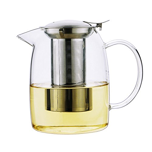 Toyo Glass Teapot with Stainless Steel Lid(Push-on-Lid), Large Capacity Water Pot with Safe Filter - No Spill- Heat Resistant Elegant Glass Teapot,Tea Kettle for Home,42 Oz/1200ML (Heat Resistant Glass Tea Kettle compare prices)