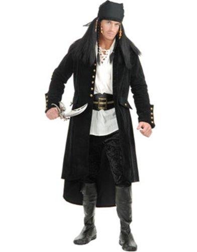 Charades Men's Treasure Island Pirate Jacket, Black, Medium