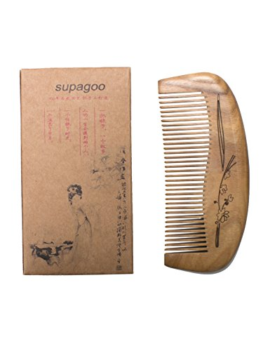 Supagoo Natural Green Carving Sandalwood Wood Comb-handmade,portable Hair Comb (Ming Hair Brush compare prices)